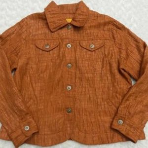 Ruby Rd Petite Copper Brown Shimmer Jacket Sz 12P